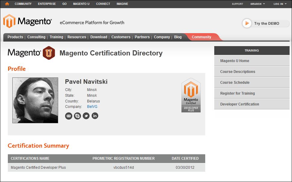 Pavel Novitsky's Magento profile