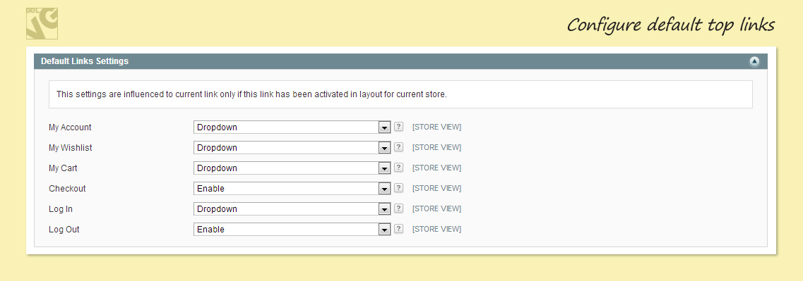 Configure default top links