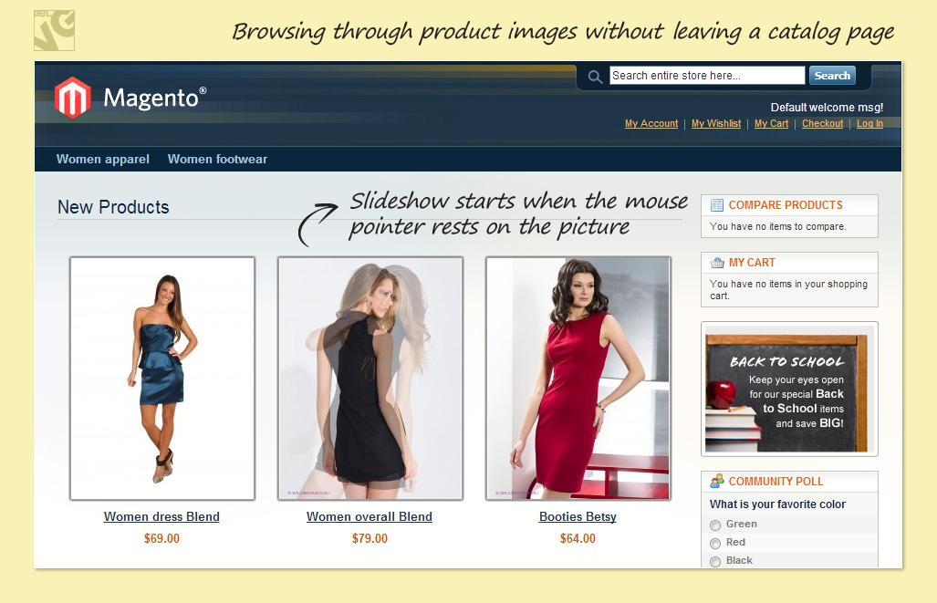 Browsing through product images without leaving a catalog page