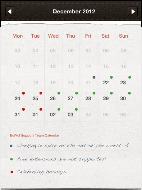 Support Team Holidays Work Schedule
