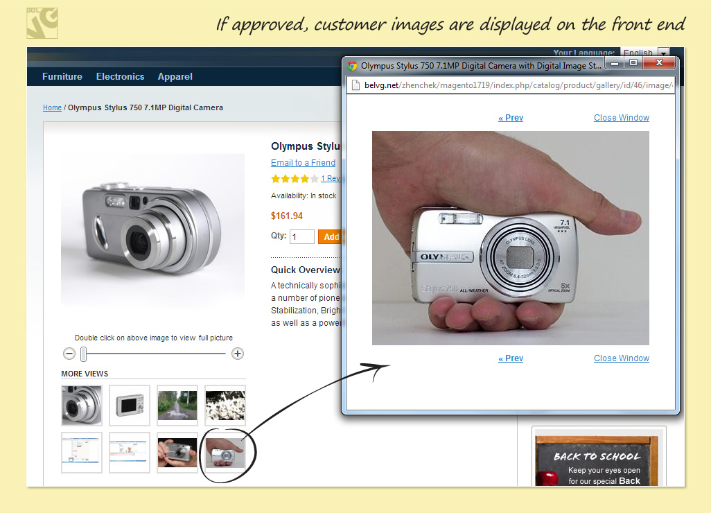 If approved, customer images are displayed on the front end