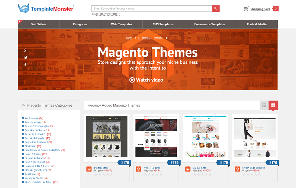 Magento Themes from the TemplateMonster Collection