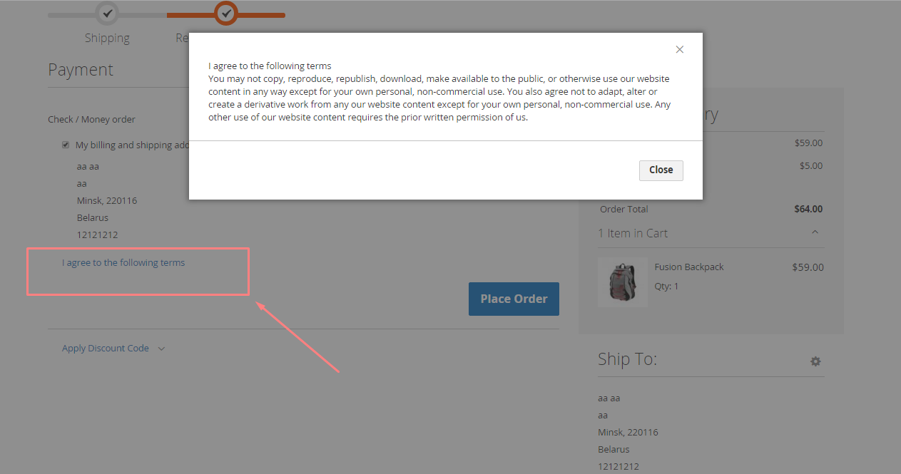 Terms and Conditions in Magento 2.0