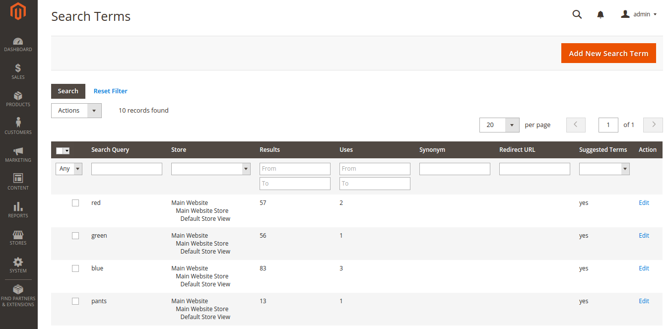 Search Terms Configuration in Magento 2.0