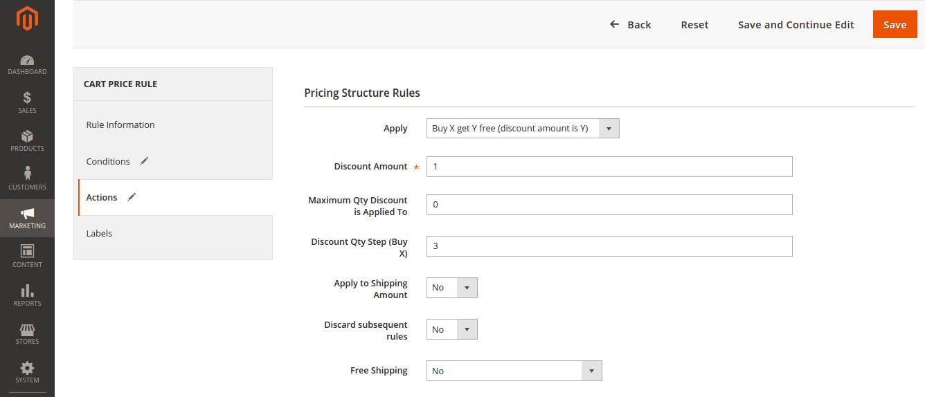 Buy X Get Y Discount in Magento 2.0
