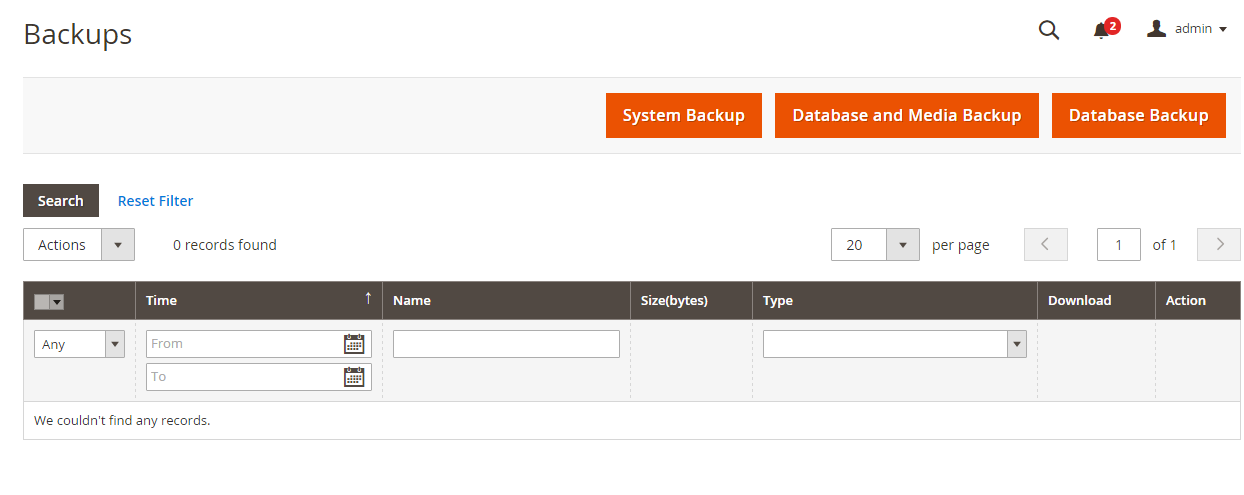 how to open magento database