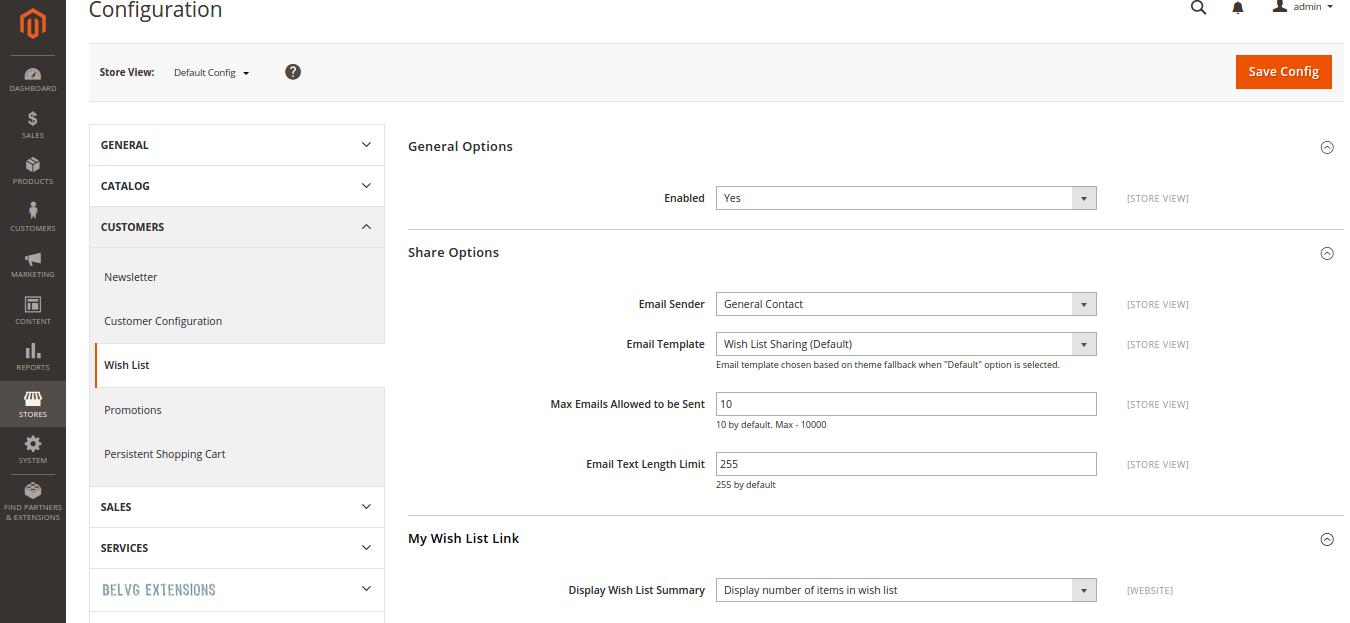 Wish List Configuration in Magento 2.0