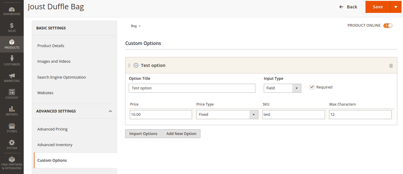 Custom Options Import in Magento 2.0