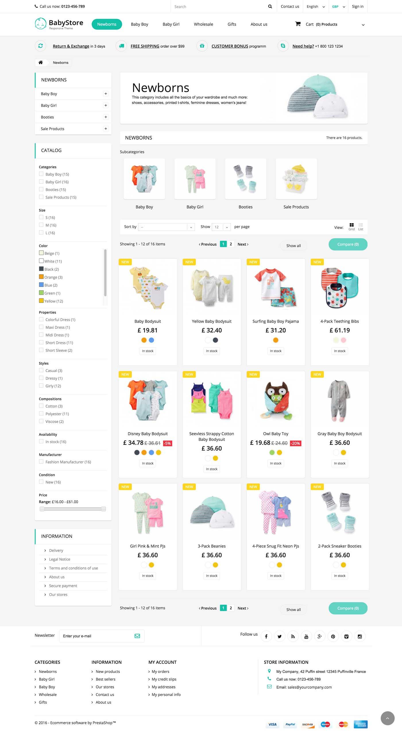 Baby Store Responsive Prestashop 1.6 Theme