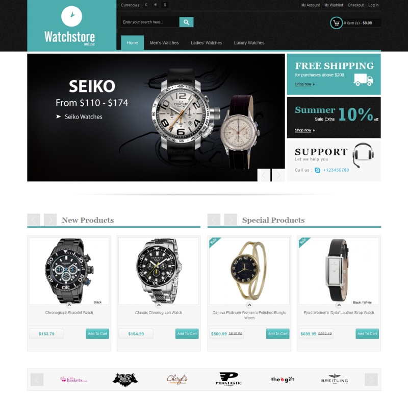 Magento free theme for a watch store