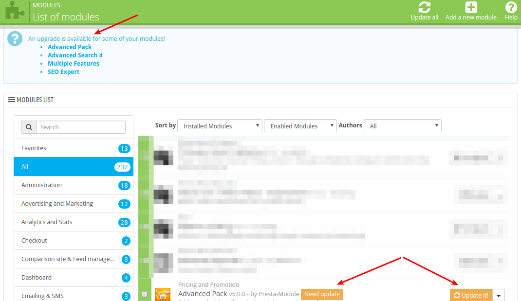 How to hide notifications about modules' updates in Prestashop