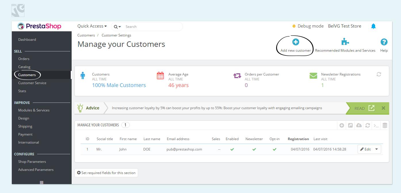 Customers and Customer groups in Prestashop 1.7