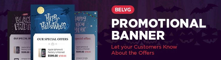 BelVG Promotional Banner. Let your Customers Know About the Offers