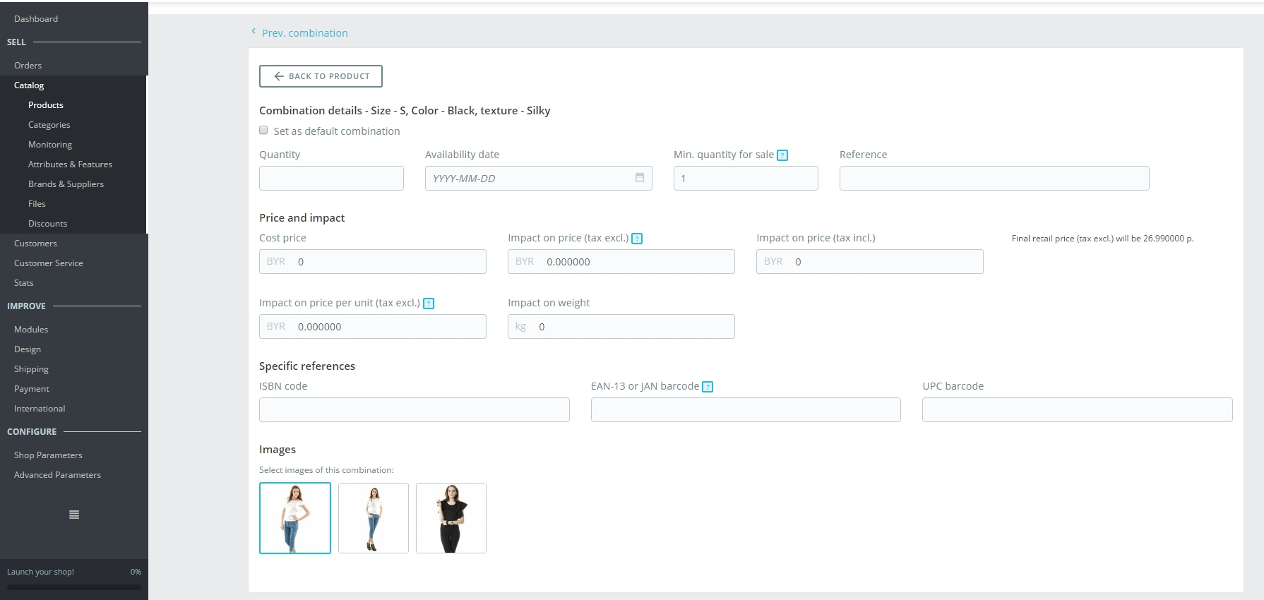 How to Add Product Attributes and Combinations in Prestashop 1.7