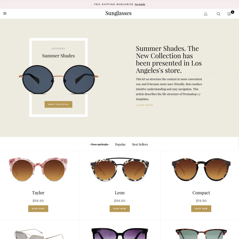 Prestashop 1.6 Sunglasses Responsive Template