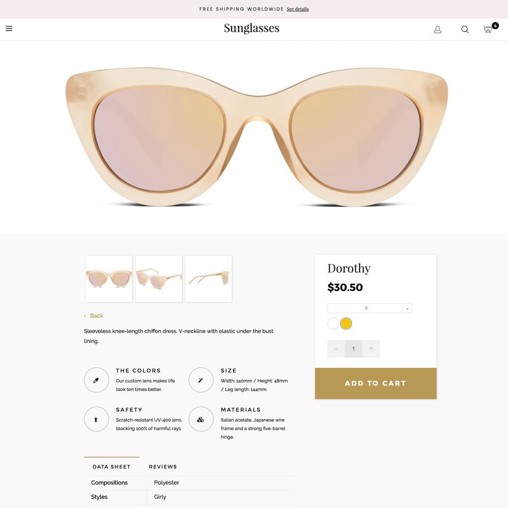 Prestashop 1.6 Sunglasses Responsive Template