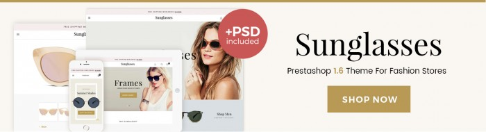 Big Day Release: Prestashop 1.6 Sunglasses Responsive Template