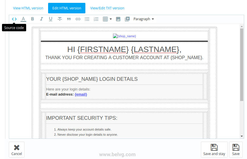 disable Source code in prestashop 1.7 edit email template