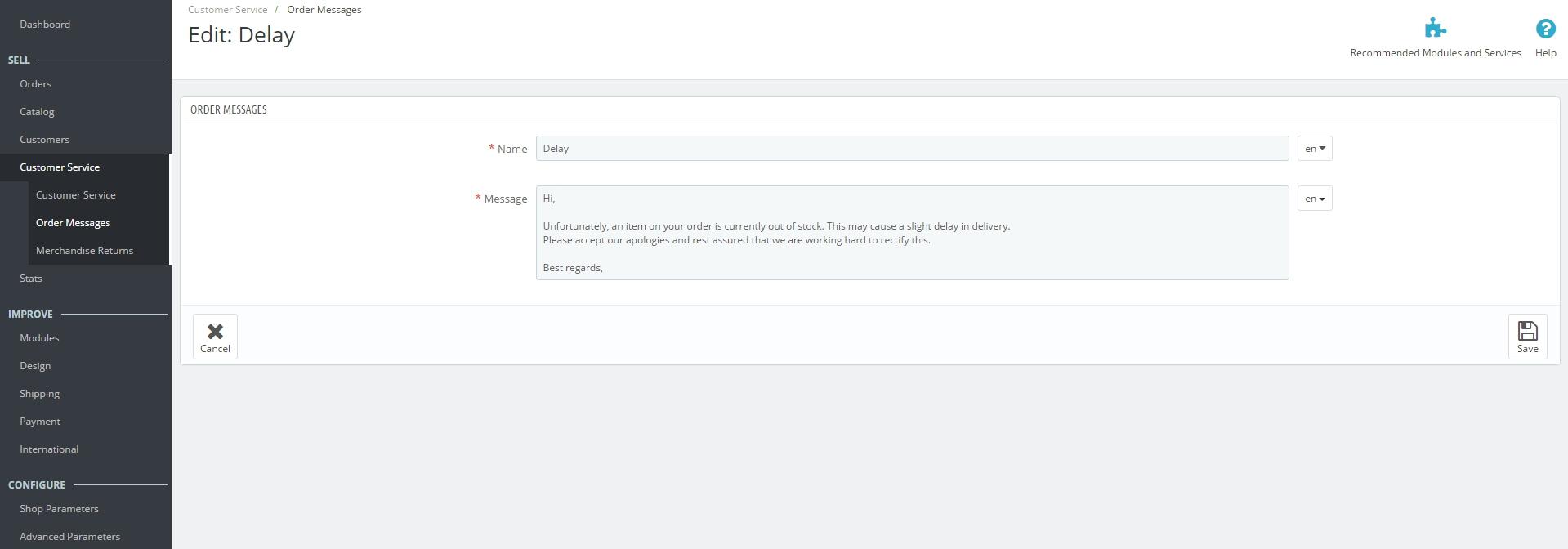 order messages in Prestashop 1.7