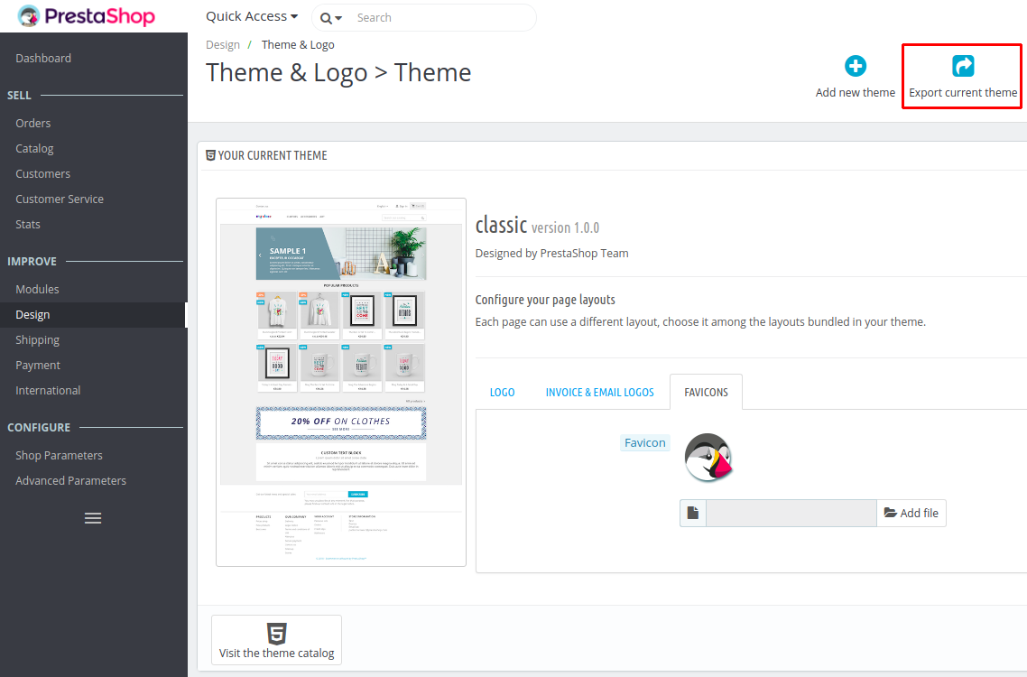 Export current theme 1