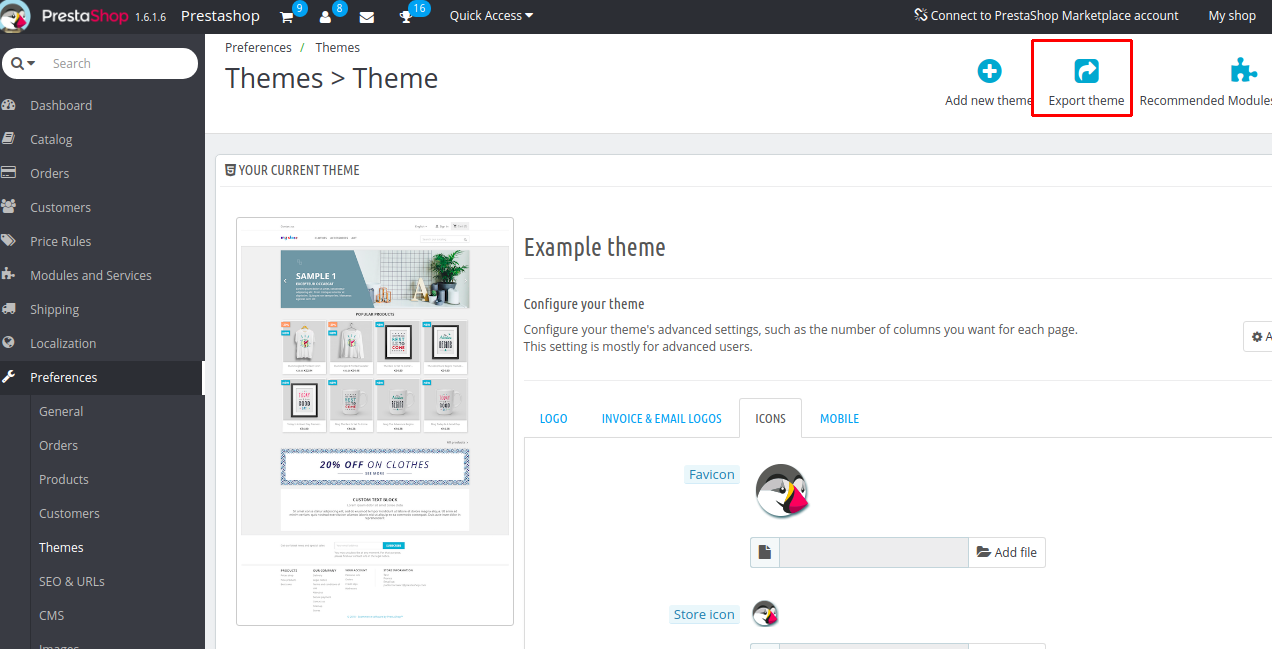 Export current theme 2