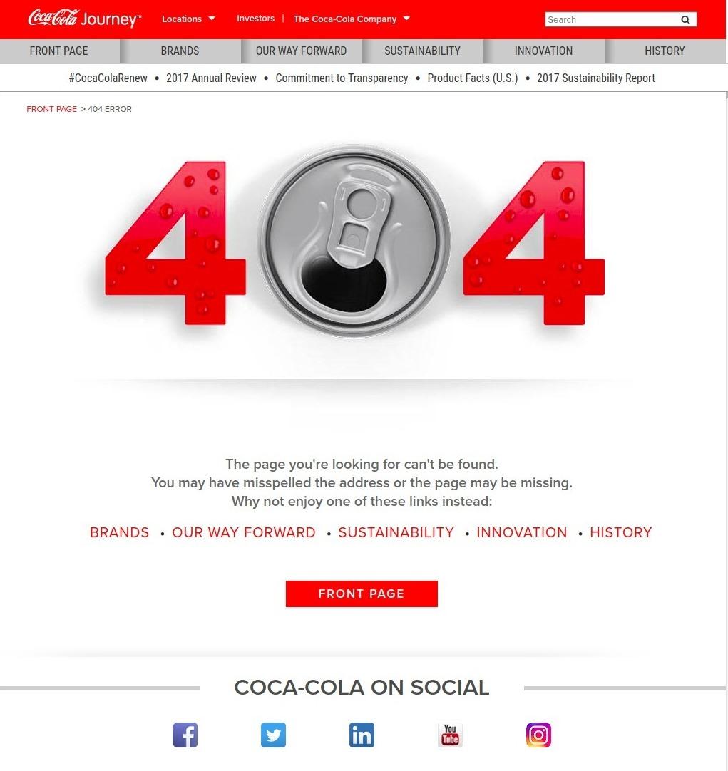 Coca-Cola 404 page
