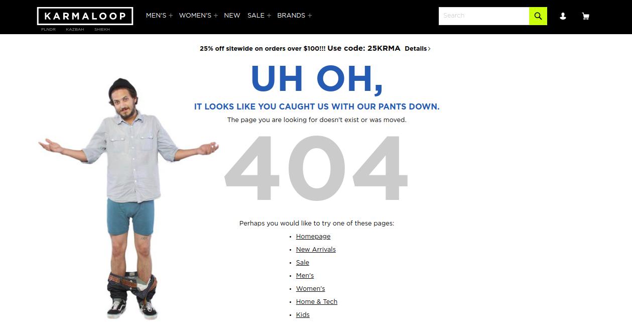 Karmaloop 404 page