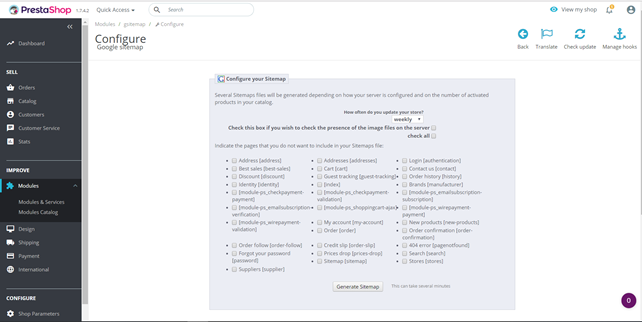 Creating a sitemap in PrestaSop 1.7