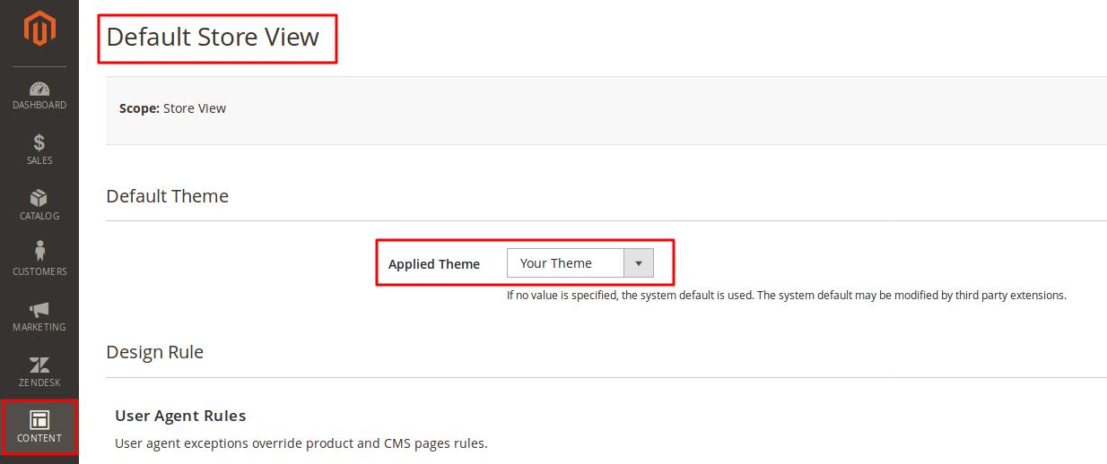 Configuring site design using options found under Content > Design > Configuration