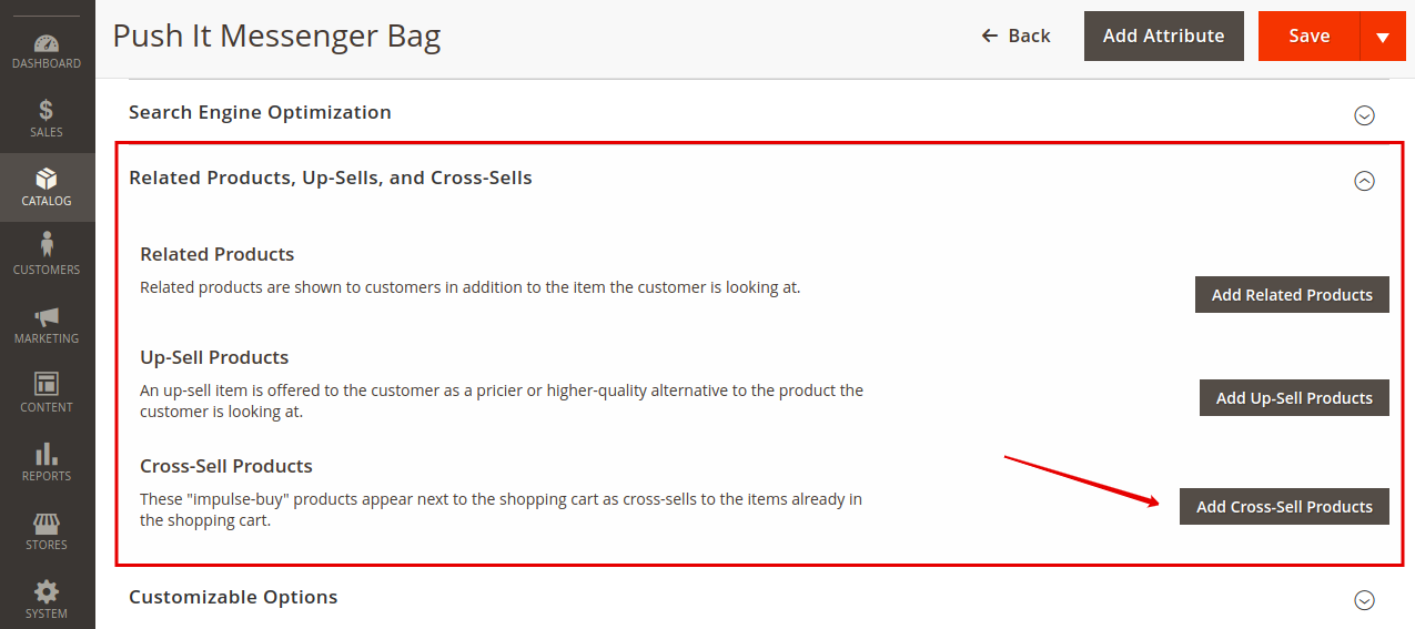 Add cross-sell products