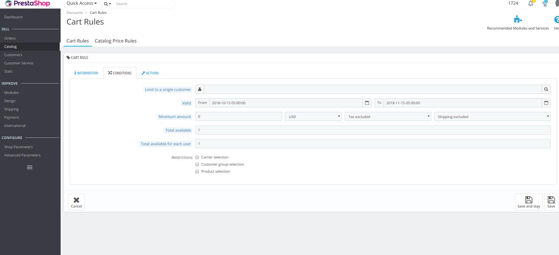 Cómo agregar cupón y código de descuento a Prestashop 1.7
