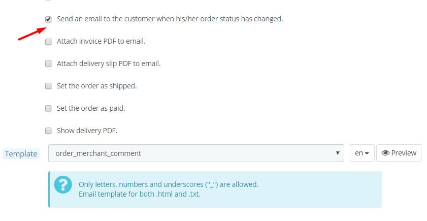 PrestaShop 1.7.5 order status