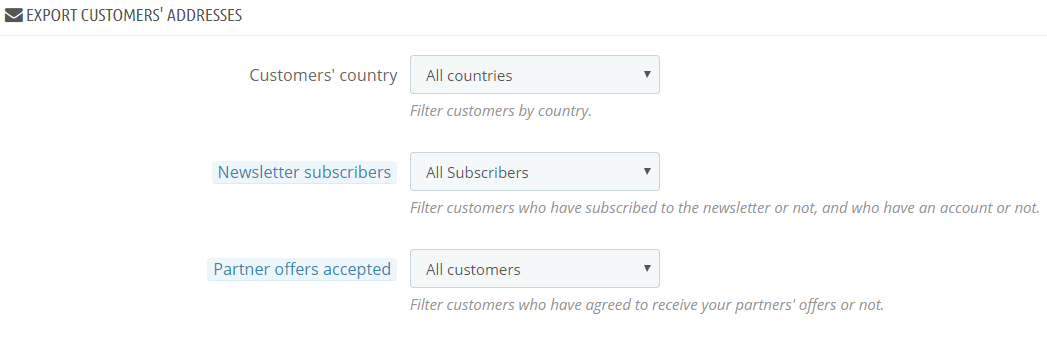 export addresses