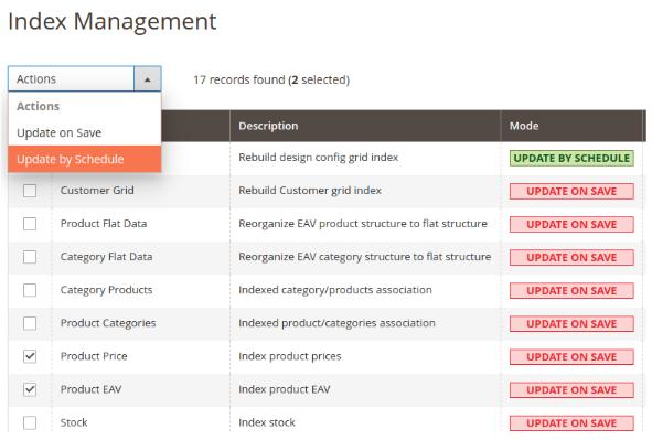 magento index management reindex magento 2
