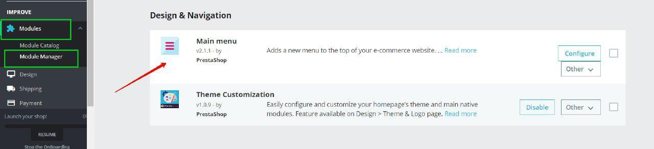 main menu module