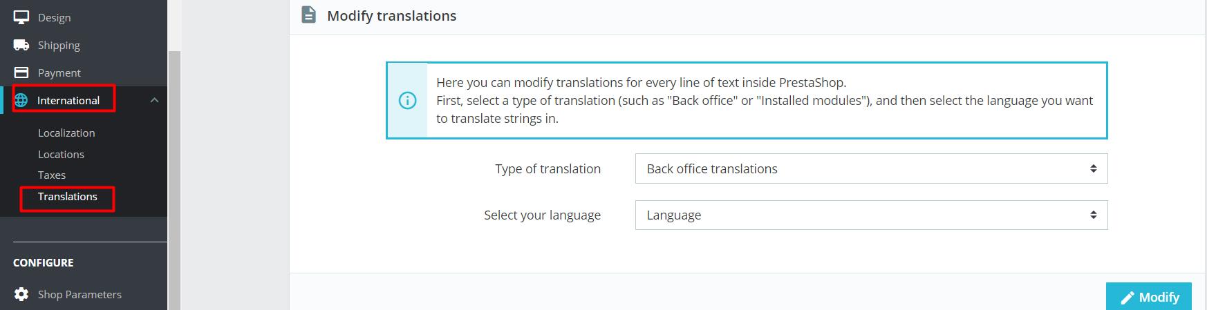 modify translations