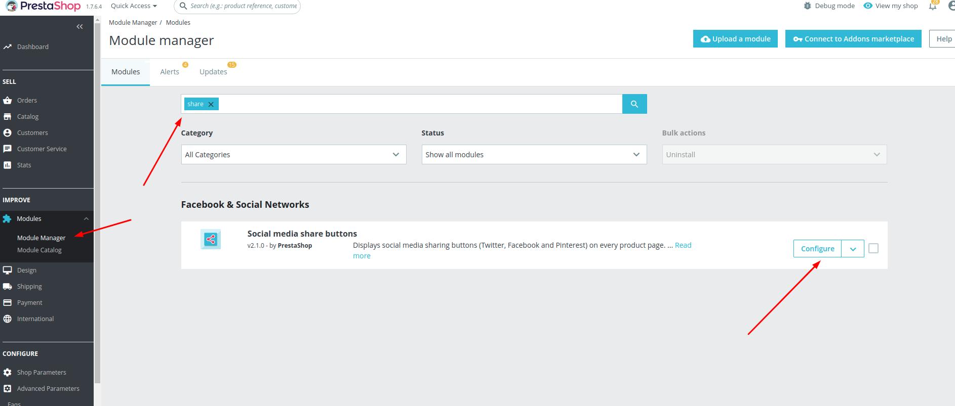 prestashop 1.7 social network