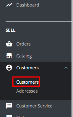Sell customers tab prestashop 1.7.5