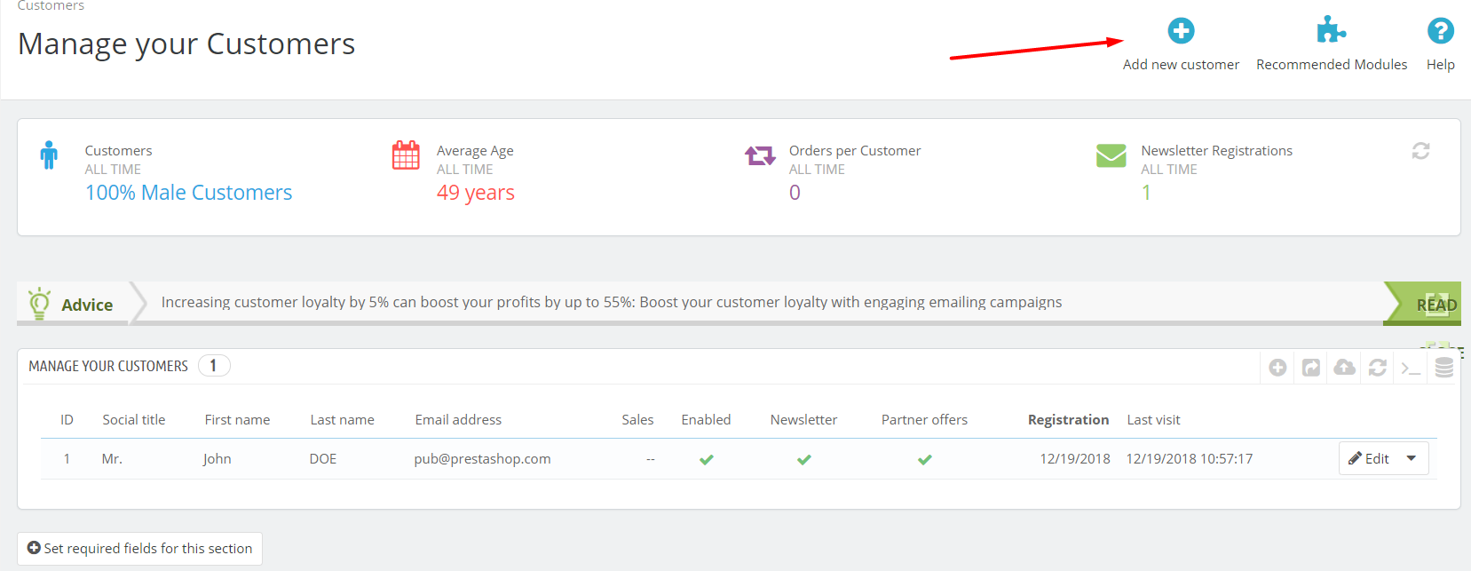 add new customers prestashop 1.7.5
