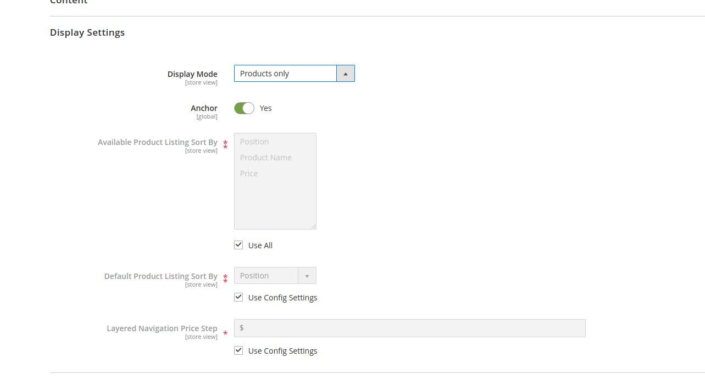 display settings magento 2