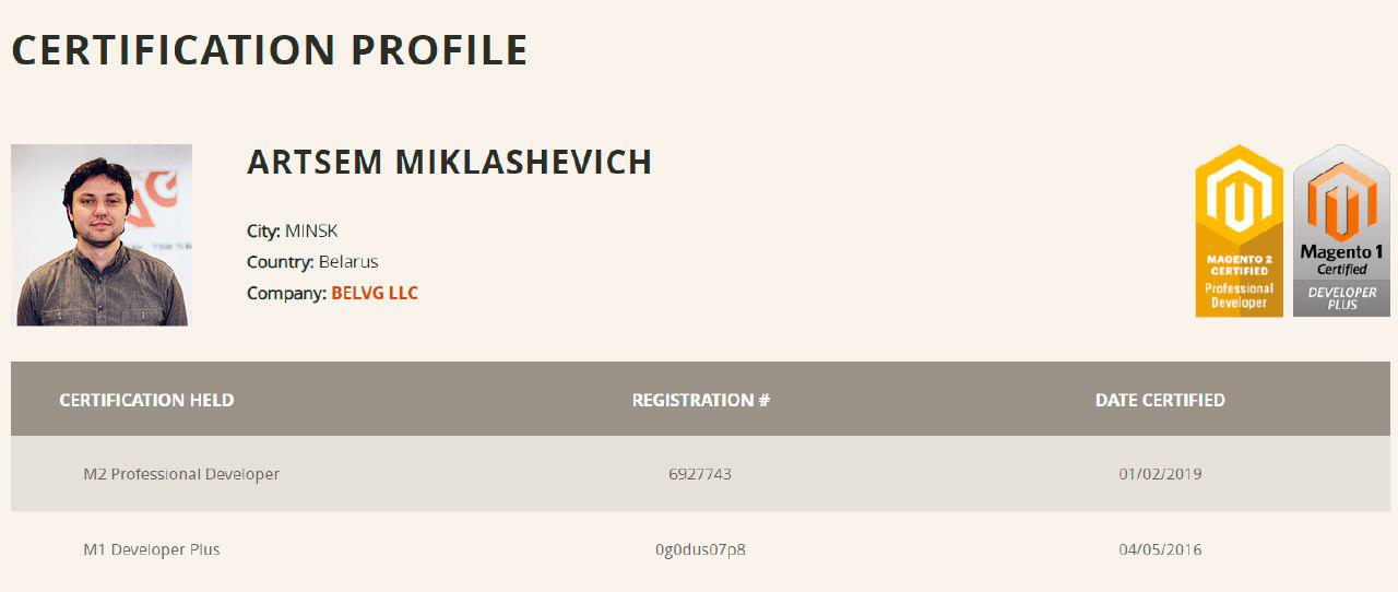 miklashevich magento 2 certificate