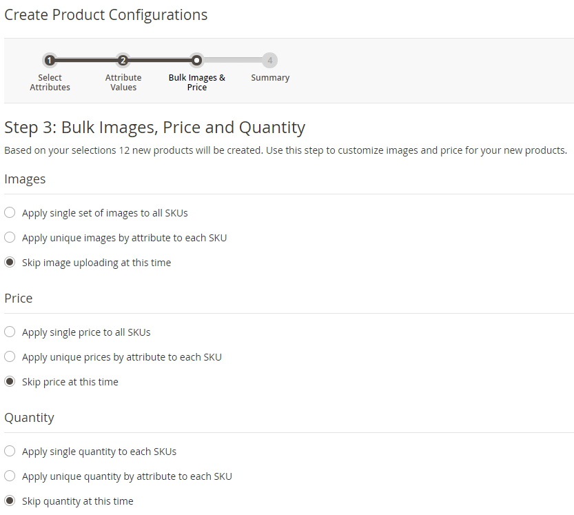 product configurations step 3 magento 2
