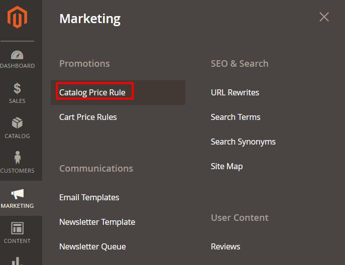 catalog price rules menu