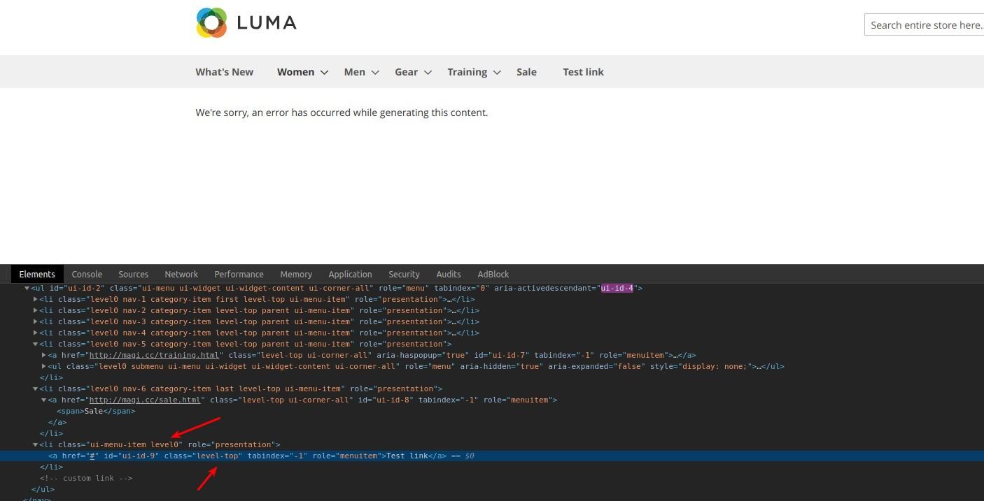 How to create a menu via an additional block