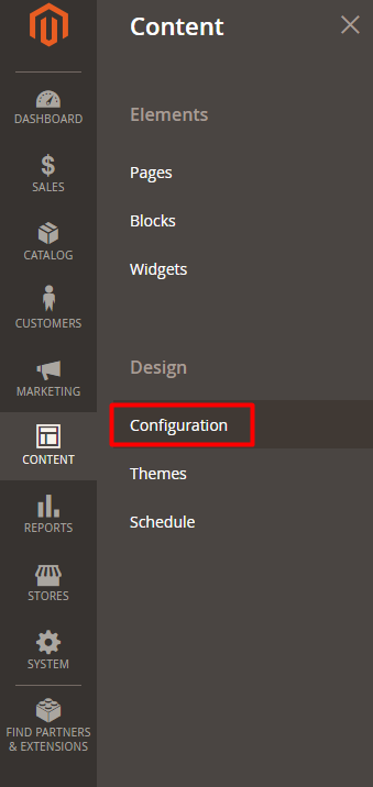 content configuration magento 2