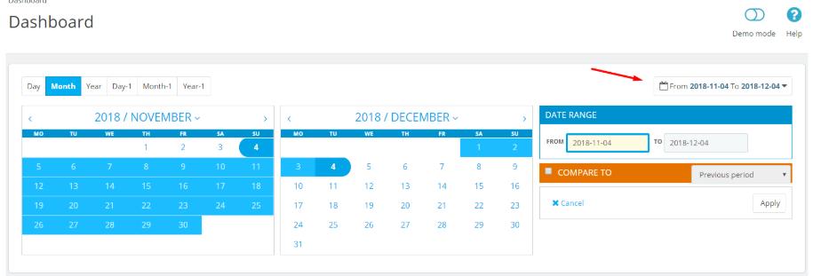 dashboard date range