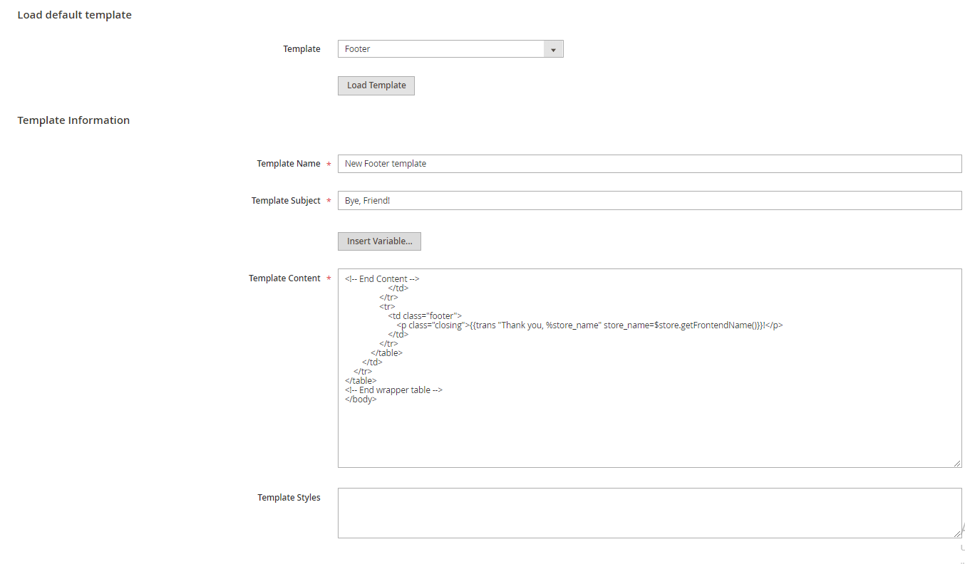 footer configuration