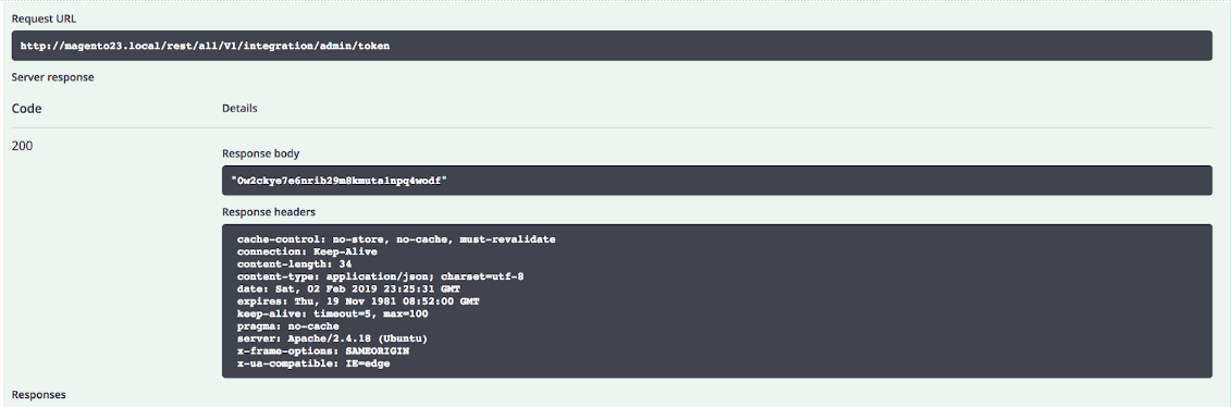 Example response in Swagger Magento api
