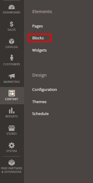 content elements blocks