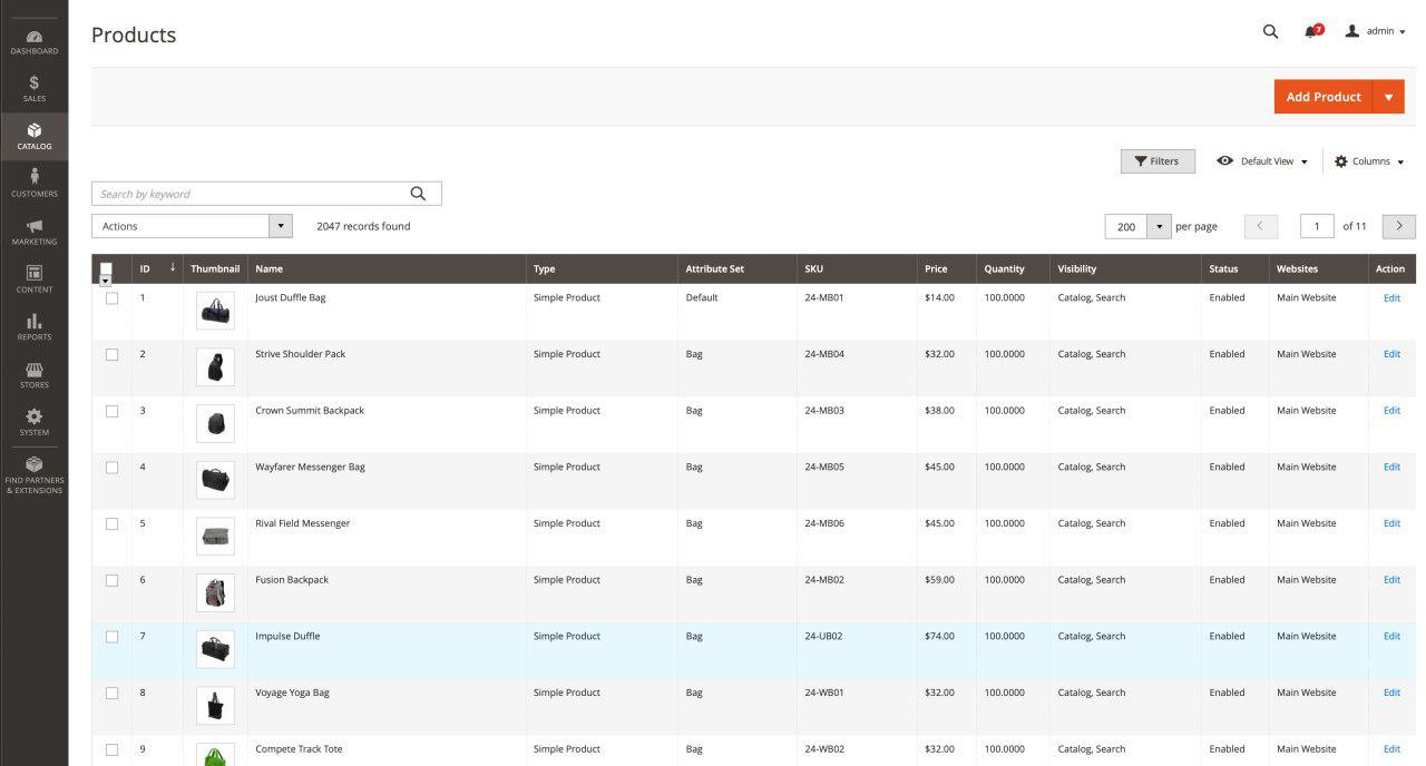 product dashboard magento